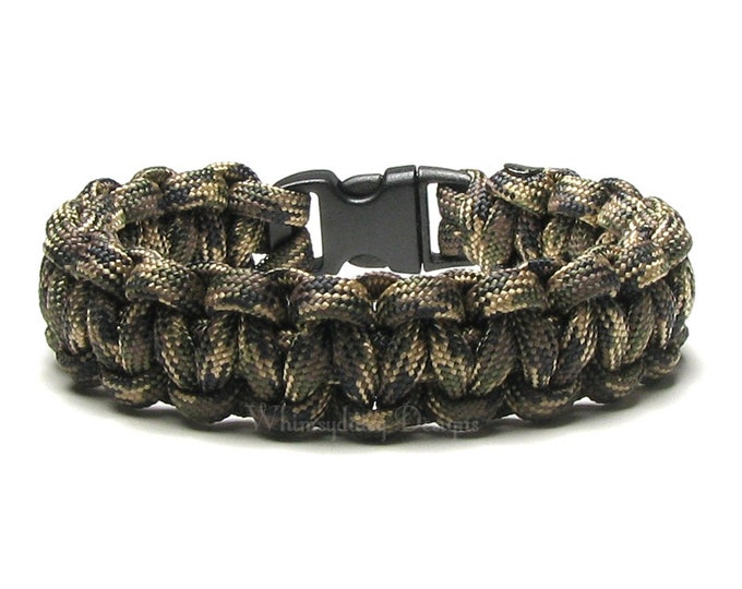 Paracord Bracelet Deep Woods Olive Green Brown Beige Camouflage Hunting New Survival Accessory Outdoorsmen Military Army Veteran Nature Camo