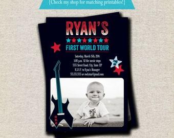 Rock Star Invitation - red blue   Rock Star Invite   Guitar Invitation   Rock Star Party Printables