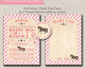 Pony Party Invitation, Thank You Card, Return Address Labels pink and brown   Vintage Cowgirl Birthday Party Printables   digital printable