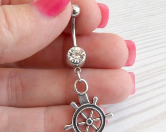 Belly Button Ring - Navel Ring - Belly Ring - Belly Button Jewelry - mermaid navel ring - bellybutton rings - nautical beach -