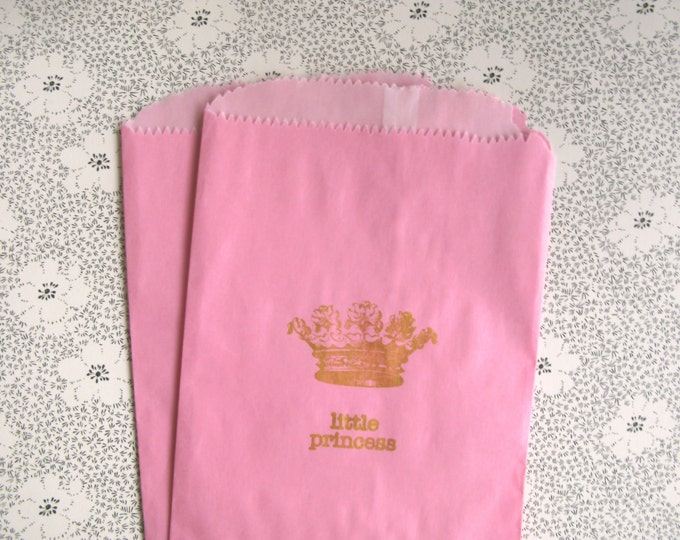 Gold Stamped Pink Paper Bag, Little Princess and Crown, Fairytale, Royal Baby Shower, Gift Bags,  Favor Food Grade Bags set of 10