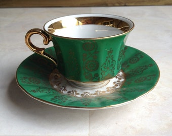 Vintage Winterling Bavaria Demitasse Green Gold Cup & Saucer Germany - #4865