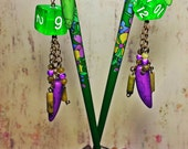 """OOAK """"Lawful Neutral"""" - Gamer Asian Hair Sticks with Dangles and Dice - Handmade - Bamboo Sticks - 9"""" Long - Green and Purple - LARP - RPG"""