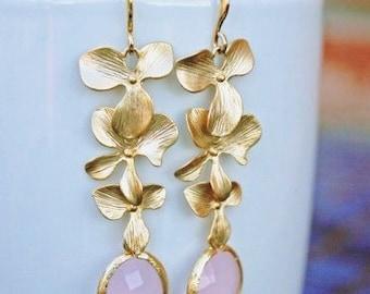 Pink Flower Earrings in Gold. Ice Pink Earrings. Pink Opal Earrings. Bridesmaid Earrings. Bridesmaid Jewelry. Bridal.Wedding.Delicate.Dainty