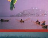 Surreal Art, Paper Collage Print, Hummingbird, Purple Art, Unusual Wall Art, Colorful Collage