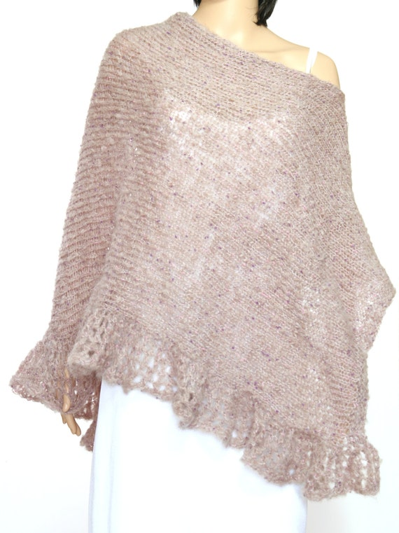 Knitting Pattern For Lace Poncho : SALE Light Purple Knitted Lace Poncho Womens by ettygeller