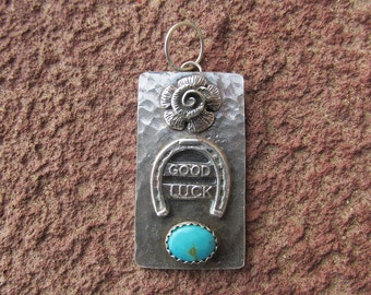 Horseshoe Turquoise Good Luck Sterling Silver Pendant Charm Cowgirl Equestrian Necklace