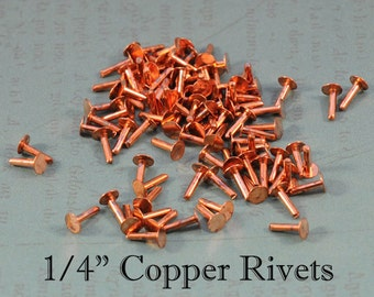 "100 1/4"" 1.3mm Copper Rivets"
