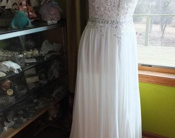 Luscious chiffon wedding dress open keyhole back beaded informal beach destination alternative wedding gown