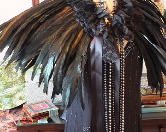 Thick black couque feathered cape capelet 1920s flapper stole wrap Great gatsby boa