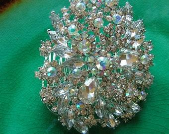 Sparkling Auroura Borealis Rhinestone Hair Comb Wedding Tiara