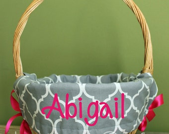 Personalized Easter Basket Liner - Gray Quatrefoil - Personalized with Name - Custom Basket Liner