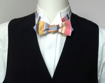 diamond point Bow tie,  mans, cotton colourful stripe bowtie - adjustable, self-tie for men - ships worldwide - handmade by Bagzetoile