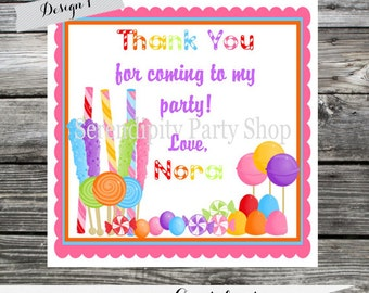 Set of 12 Personalized Favor Tags -Candyland -Thank You Tag -Gift Tag -Baby Shower -Birthday-Sticker-School treats -Sweet shoppe