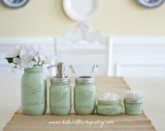 Mason Jar Bathroom Kit. PEACH. Ball Mason Jars. Rustic Home