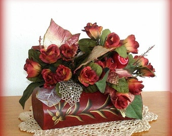 Rose Centerpiece Hand Crafted Decorated Wood Box Gold Accents Red/Green Floral Well Secured Lovely Gift for Many Occasions PRICE REDUCED