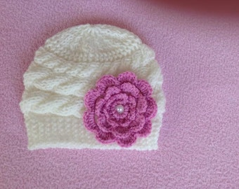 newborn photo prop, lovely cabled beanie with a large flower, newborn props, newborn girl, baby hat, newborn knit hat, white hat, knit hats
