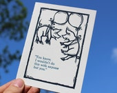 """Letterpress Funny Happy Anniversary Card: """"You know…"""" with flying pigs"""