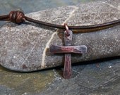 Chunky Hammer Textured Copper Cross -  Small Cross Pendant Necklace -  Leather Cord
