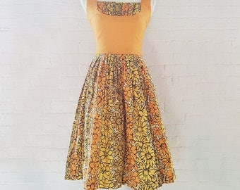 1950s Orange Floral Print Fit and Flare Dress 50s Vintage Multicolor Cotton Full Skirt Shelf Bust Sundress Small Summer Garden Party Dress