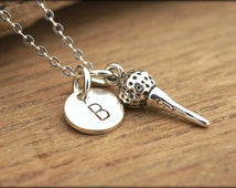 LADIES GOLF NECKLACE, Sterling Silver Initial Necklace, Personalized Golf Gift, Personalized Sports Jewelry, Womens Golf Jewelry by Cheydrea