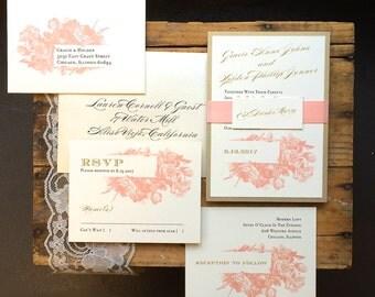 "Modern Wedding Invitations, Pink and Gray, Gold and Blush Wedding Elegant, Script, Calligraphy Invites - ""Modern Floral"" Deposit"