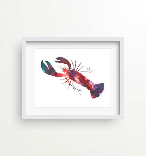 Kitchen Print Kitchen Wall Art Purple Kitchen Decor Gratitude: Lobster Print Wall Print Beach Decor Nautical Kitchen