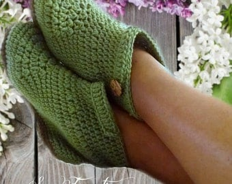 PATTERN ONLY Easy Crochet Ankle Boot Slippers/ Adult sizes 5 through 10 many photos included/ Permission to sell finished Items