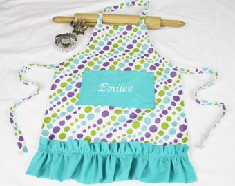 Personalized and Ruffled White N Purple Dots Child Apron with aqua pocket and ruffle - made to order