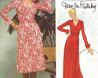 Iconic 70s Diane Von Furstenberg Womens Wrap Dress Vogue Sewing Pattern 1549 Size 12 Bust 34 UnCut Vintage Vogue American Designer Pattern