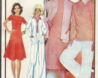 70s Womens Cardigan Style Jacket, Top, Skirt, Pants & Scarf McCalls Sewing Pattern 5007 Size 16 Bust 38 UnCut Stretch Knits Only