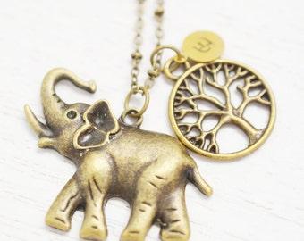 long elephant necklace,animal jewelry,personalized tree elephant necklace,monogram charm,bridesmaid,bff jewelry,lucky elephant yoga jewelry