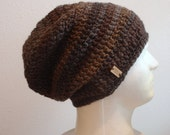 Crochet Slouch Beanie, Vegan Hat, Brown and Gray Striped, Man Slouchy Beanie, Womens Hat, Grunge Beanie, Etsy Gift Cards