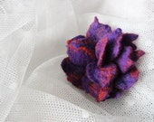 FINAL SALE Hand felted brooch in purple (violet) & orange. Flower, secret garden, nature. Spring. Pin