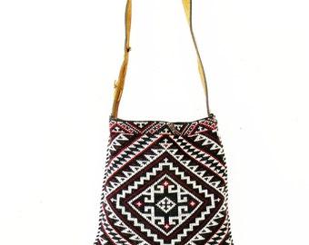 Vintage Native Wool Textile Tote Bag Chevron Pattern Leather Strap