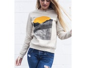 GOOD MORNING sweater. sunrise sweatshirt. mountain shirt.