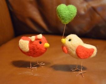 Needle Felted Love Birds