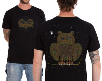 Owl T shirt For Men, Owl Tshirt, Mens T-shirt, Psychedelic, Night Owl Shirt, Uv, Psy Clothing, Trance, Festival Shirt