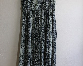 vintage green leopard print maxi dress with beaded fringe- sale