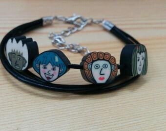 Faces cuff, leather cuff, faces bracelet,kawaii cuff,leather bracelet, leather cuff,face bracelet,black leather,caricature bracelet
