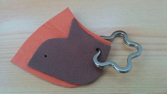 Leather keychain,leather keyring, dove keychain, brown keychain, bird keychain, flower keychain, leather key, orange leather,orange keychain