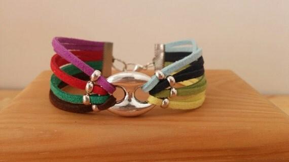 Rainbow cuff, rainbow bracelet, multicolor cuff, multicolor bangle, colors cuff, colors bracelet, suede bracelet, suede cuff, colorful cuff