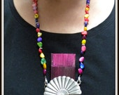 Hand Fan Holder Necklace Chain COMPLETE Strap and Holder Multicolored Shell Chips