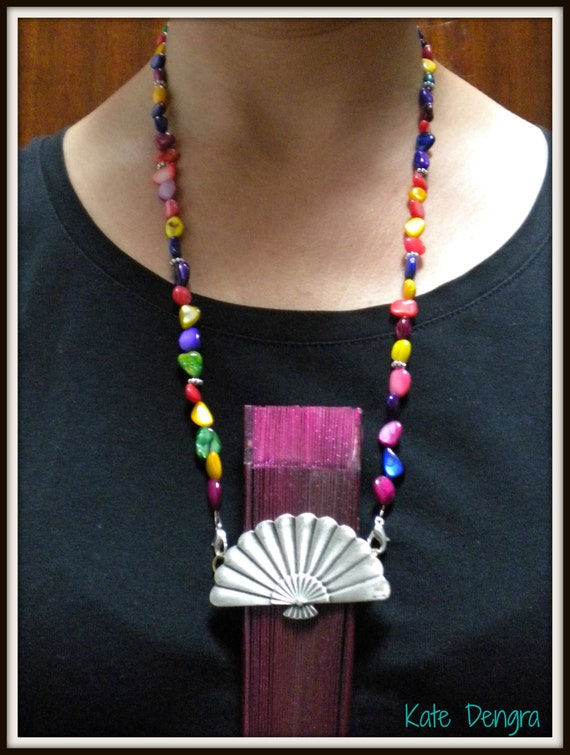 Hand Fan Holder Necklace Chain CHOOSE OPTIONS Strap and Holder Multicolored Shell Chips