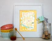 pleasant words are like honey, hand painted scripture watercolor print