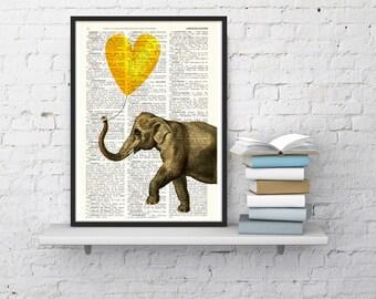 Summer Sale Elephant Art Print, Wall Art Print Heart shaped balloon in yellow Wall Decor Dorm Decor  Art  Fun Love Elephant ANI215