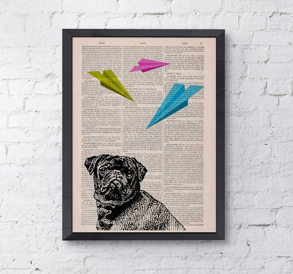 Spring Sale Funny wall art Origami puggle Dog  Vintage collage print on upcycled dictionary book  home Pop art BPAN133