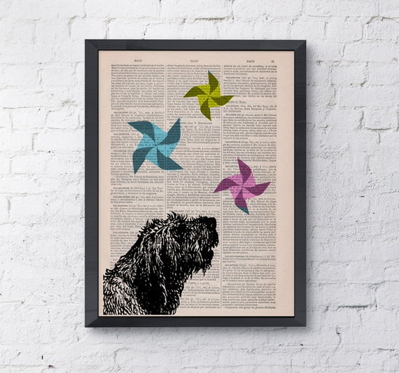Funny pet print Origami Dog with windwheels Vintage collage print on upcycled dictionary book home decor ANI135