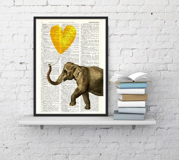 Elephant Art Print, Wall Art Print Heart shaped balloon in yellow Wall Decor Dorm Decor  Art  Fun Love Elephant ANI215
