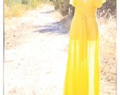 Wrap Infinity Dress Bright Sunshine Yellow / Tea / Midi / Maxi Length Summer Dress